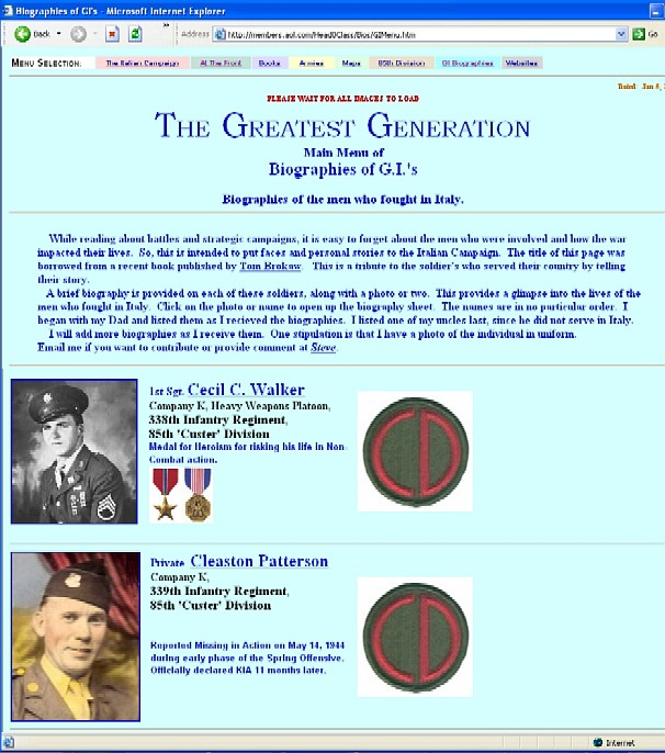 Screen shot of Greatest Generation page